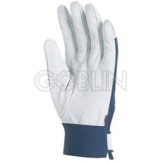 Euro Protection Színkecskebõr sofõrkesztyû, kék pamut kézháttal, elasztikus csuklórész tépõzárral