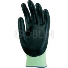 Euro Protection Euro5 vágásálló kesztyû (Hppe/Spectra/Spandex), nitril-PU tenyér+ökölcsontig, fekete/zöld