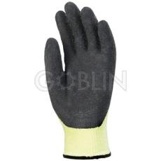 Euro Protection 5-ös szinten vágásálló, sárga Taeki5® védõkesztyû fekete érdesített latex...