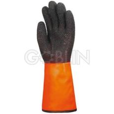 Euro Protection Bélelt PVC fluo narancs sav-, lúg-, és vegyszerálló védõkesztyû, 35 cm, fekete Coral...