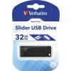 Verbatim Pendrive, 32GB, USB 2.0, VERBATIM Slider, fekete (UV32GSF)