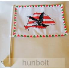 Farkasfogas árpádsávos Nagy-Magyarország fekete turulos autós zászló, ablakra tűzhető