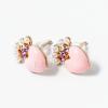 Rózsaszín szivecske beszúrós fülbevaló jwr-1374