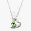 Ezüst bevonatos szív medálos nyaklánc zöld köves jwr-1300