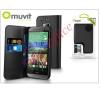 Muvit HTC One (M8) flipes tok kártyatartóval - Muvit Slim and Stand - black tok és táska