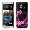 utángyártott Műanyag telefonvédő (gumírozott, virág, szív mintás) LILA [HTC One Mini (M4)]