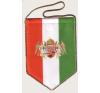 autós zászló, 5 szögletű, kétangyalos, arany színű zsinórral autó dekoráció