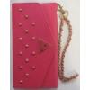 Guess Studded oldalra nyíló bőrhatású szegecses tok lánccal HTC M8 One 2-höz pink (GUCLTHM8STP)*