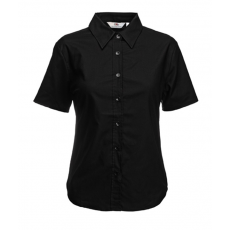 Fruit of the Loom FoL Ladies Oxford Short Sleeve Shirt fekete