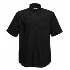 Fruit of the Loom FoL Short Sleeve Oxford Shirt, fekete