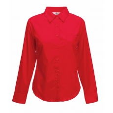 Fruit of the Loom FoL Lady-Fit Long Sleeve Poplin Shirt, piros
