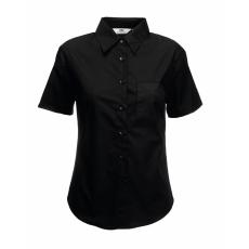 Fruit of the Loom FoL Lady-Fit Short Sleeve Poplin Shirt, fekete