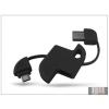 Haffner USB - micro USB kulcstartó adatkábel - fekete