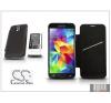 Cameron Sino Samsung SM-G900 Galaxy S5 hátlapos akkumulátor védőtokkal - Li-Ion 5600 mAh - fekete - X-LONGER mobiltelefon akkumulátor