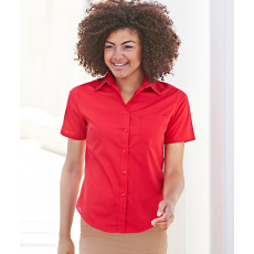 Fruit of the Loom FoL Lady-Fit Short Sleeve Poplin Shirt, piros