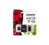 Kingston Memóriakártya, Micro SDHC, 64GB, Class 10, adapterrel, KINGSTON memóriakártya