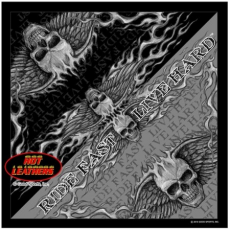 Szürke-fekete koponyás kendő