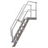 KRAUSE - Ipari lépcső dobogóval 600mm 60° bordázott alu fokkal 18 fokos