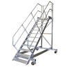 KRAUSE - Ipari lépcső dobogóval, gurítható 600mm 60° 4 fokos