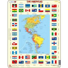 Larsen maxi puzzle 70 db-os Amerika térkép és zászlók KL4 puzzle, kirakós