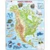 Larsen maxi puzzle 66 db-os Észak-Amerika térkép állatokkal A32