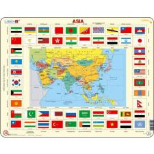 Larsen maxi puzzle 70 db-os Ázsia térkép és zászlók KL2 puzzle, kirakós