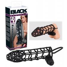 Black Velvet rácsos, vibráló péniszköpeny (fekete) péniszköpeny