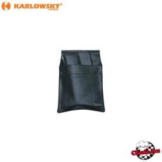 Felszolgáló oldaltáska-brifkó tartó, fekete, bőr, 3 zsebes