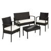 Polyrattan ülőgarnitúra fekete, 2 szék + 1 pad + 1 asztal