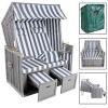 Strandkosár, nyugágy, pihenő ágy 2 párnával, takaróponyvával szürke-fehér