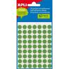 APLI Etikett, 8 mm kör, kézzel írható, színes, APLI, zöld, 288 etikett/csomag (LCA2047)