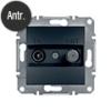 Asfora - TV-SAT aljzat, átmenő, 8 dB, keret nélkül, antracit
