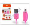 USB USB - micro USB adat- és töltőkábel 1 m-es vezetékkel, töltöttségi állapotjelző LED fénnyel - pink mobiltelefon kellék
