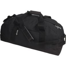 600D poliészter, Sport-, utazótáska, fekete (Sport- és utazótáska vállpánttal, cipzáras zsebbel. 600D)
