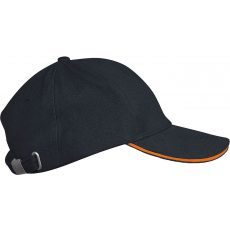 KARIBAN sapka, 6 paneles,U, darkgrey/orange (Kariban sapka, 6 paneles,U, darkgrey/orange)