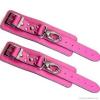 Karabineres bőr csuklóbilincs, rózsaszín, 1 db