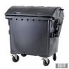Külső hulladéktároló, Gömbölyű fedelű műanyag konténer - 1100 L fekete színben HUL-0014-3