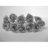 Szatén rózsacsokor drótos szárral, 12 cm-s (12 szálas) ezüst