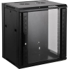 19-os fali rackszekrény, hálózati szerverszekrény, zárható ajtóval 570 x 770 x 600 mm, fekete 15 HE Intellnet (RAL 7035) 711951