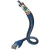 RJ45-ös patch kábel, hálózati LAN kábel CAT 6 S/FTP [1x RJ45 dugó - 1x RJ45 dugó] 0,50m kék, ezüst színű Inakustik 1180596