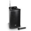 LD SYSTEMS System RoadMan aktív, akkumulátorról is üzemelő mobil PA, 80 W RMS, kézi mikrofonnal