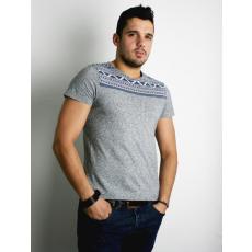 S méret Azték mintás szürke férfi póló