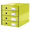Leitz Irattároló, laminált karton, 4 fiókos, LEITZ Click&Store, zöld