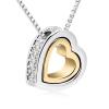 18k fehérarany-arany bevontú dupla szíves nyaklánc Swarovski kristályokkal + AJÁNDÉK DÍSZDOBOZ (1223.)