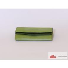 P044 S.Belmonte világos zöld, sötét zöld bőr pénztárca