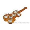 Pálinkás pohár szett 6db hegedű tartóban