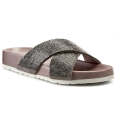 Papucs INUOVO - Angelique 5111 Grey Lea/Grey Strass