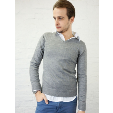 S méret Basic V nyakú férfi pulóver