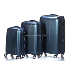 YEARZ - MARCH Yearz NEW CARAT 2 kék cirmos négykerekű bőröndszett Y088-Szett