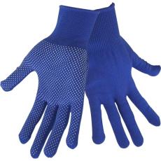 Extol kötött kesztyű, kék, PE, fehér PVC pöttyökkel, méret: 8` (Kesztyű)